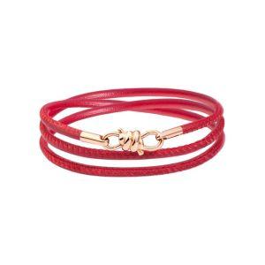 DODO NODO BRACELET IN ROSE GOLD AND BORDEAUX LEATHER 17 CM
