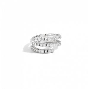 RECARLO ANNIVERSARY RING WITH THREE BANDS IN WHITE GOLD AND DIAMONDS