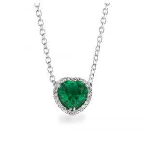 FREELIGHT NECKLACE IN WHITE GOLD HEART WITH DIAMONDS AND EMERALD