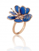 CHANTECLER PAILLETTES RING IN ROSE GOLD AND CAPRI ENAMEL